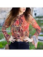 Zara Paisley Printed Brown Red Orange Blouse Shirt Top Bow Size M, Uk10