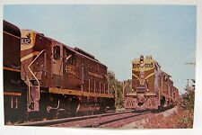 Grand Trunk EMD Geeps at Gilead ME Railroad Train Postcard 1961
