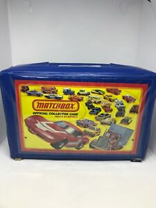 Vintage matchbox official collector carrying case blue case holds 24 cars 1980