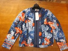 Ladies P. U. Blue Floral Padded Zipped Mary Berry Bomber Jacket Sz 18 (£85) New