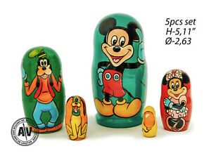 Mickey Mouse nesting dolls, Matryoshka, Mickey Mouse toy, Disney gift, Stacking
