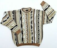 Bachrach Coogi Style 3D Abstract Stripe Men's Sweater Sz L Bill Cosby Biggie VTG