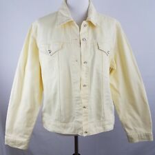 Christine Alexander Denim Jean Jacket Large Yellow Swarovski Crystal Button Up