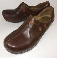 Dansko Wos Shoes EU 39 US 8.5 9 Brown Leather Floral Slip-on Work Clogs 1043