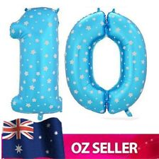 """Blue Foil Helium number 10 balloon -  40"""" inch 100cm Brithday Party AUS STOCK"""