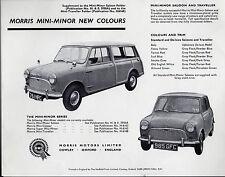 Morris Mini-Minor Mk1 New Colours 1961 UK Market Leaflet Sales Brochure