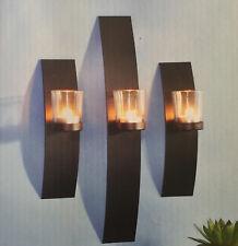 Dekorative Wandkerzenhalter für Teelichter 3er Set aus Metall mit Glaszylinder