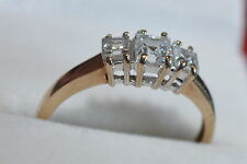 Second hand 9 ct yellow gold 3 stone cubic zirconia size P *reduced sale price