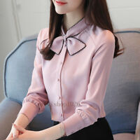 Spring Womens Chiffon Shirt Long Sleeve Bow Tie Casual Career Office Blouse Tops