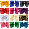 8'' Big Bow Baby Girls Shiny Hair Clip Lovely Hairpins Grosgrain Ribbon Headwear