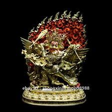 "9"" Tibet Hayagriva Yab-Yum Buddha Nepal Bronze 24K Gold Mahakala Statue"