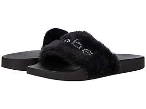 Bebe Furiosa Faux Fur Upper Logo Slides