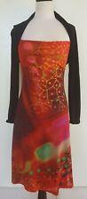 ANATOPIK Black/Orange/Red Printed Front Panel Stretch Knit Dress Size 3