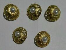 Lotto 5 Bottoni Gioiello Colore Oro Con Perla  vintage anni 80