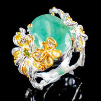 Emerald Ring Silver 925 Sterling Handmade SET15x11mm Size 8.5 /R131403