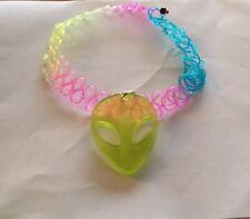 Stretch Rainbow Neon Green Alien Hippy Festival Tattoo Choker Henna