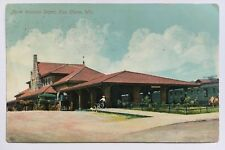 1910 WI Postcard Eau Claire RR Train Railroad North Western Depot Station carts