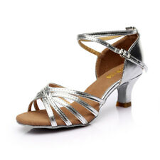 UK Womens Ladies Ballroom Latin Tango Dance Shoes 5cm Heeled Salsa Sandals Party