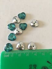 10 Love Green Silver Button Sewing Craft Heart Shape