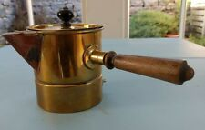 Vintage Brass Milk Heating Pan with Copper Spout and Wooden Handle-Display Only