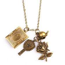 Retro Beauty and the Beast Rose Teapot Mirror Book Pendant Charm Necklace