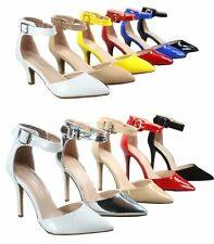 Women's Shiny Patent Pointy Toe Ankle Strap Pump Low Heel Shoes Various Size NEW