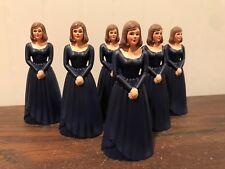 6 Vintage Bridesmaid Navy Blue Dress Cake Topper Cake Decoration Lot # 26