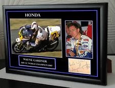 "Wayne Gardner Motor Cycle Framed Canvas Signed ""Great Gift"" #3"