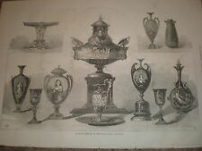 Worcester Porcelain in the International Exhibition 1871 old print