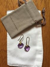 Rare David Yurman dangle/drop Cushion Amethyst Silver Gold earrings NWOT 975$