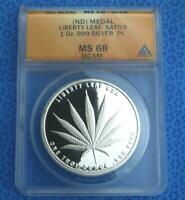 ND ANACS MS 68 Deep Cameo Proof Like Sativa Marijuana 1 Ounce .999 Silver Round