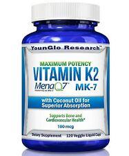 Vitamin K2 MK7 - MenaQ7 and Organic Coconut Oil - 120 Vegetarian Caps