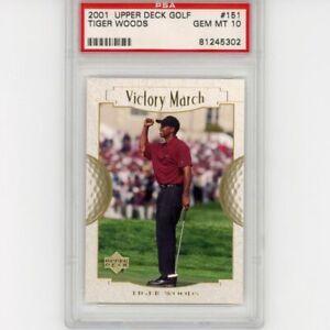 Graded 2001 Upper Deck Golf TIGER WOODS #151 Rookie RC Golf Card PSA 10 Gem Mint