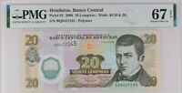 Honduras 20 Lempiras 2008 P 95 Polymer Superb Gem UNC PMG 67 EPQ New Label