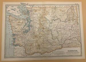 Original  Encyclopaedia Britannica Map from 1903 Washington State United States