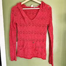 ROXY Womens Sweater Size XS Red Knit Hoodie V Neck (112) fd2eb12f6