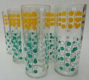 Green Yellow White Polka Dot Spotty Vintage Highball Drinking Glasses x 6
