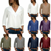 Plus Size Womens V-neck Long Sleeve T Shirts Blouse Chiffon Formal Work Tee Tops