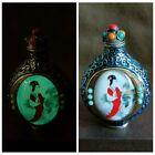 Antique Chinese Cloisonne Snuff Bottle Enamel Bottles Painted Painting Fairy Art
