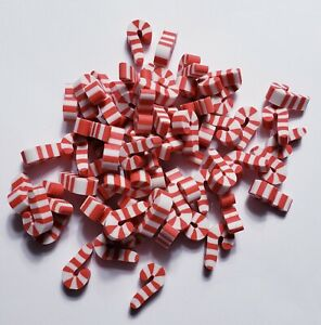 Lot of 40 Mini Candy Cane Holiday Christmas Small Pencil Eraser