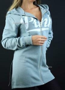 Victoria's Secret PINK Side Slit Full Zip Logo Hoodie Tunic Fleece Sweatshirt