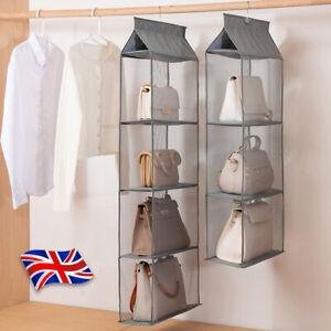 Hanging Handbag Organizer 2/3/4Tier Shelf Storage Bag Holder Wardrobe Closet