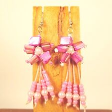 Wholesale Lot 6 PCS Handmade Beaded Shell Pink Flower Earrings