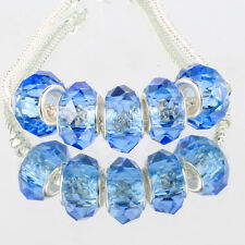 Crystal Light blue 5pcs MURANO glass bead LAMPWORK suit European Charm Bracelet