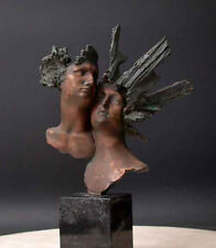 "Bronze Bust ""Freedom"" Sculpture w/ Marble Base Mask Male Female"