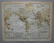 Karte der Erdbeben und Seebeben - Original Grafik, Lithographie um 1895
