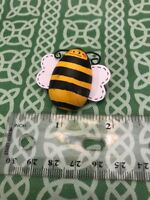 Signed Joan 98 Painted Wood Smiling Bumble Bee Pin FREE SHIPPING