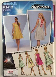 Simplicity 1418 Ladies Dress Tied Tea Dress Straps Pleat Skirt New Uncut Pattern