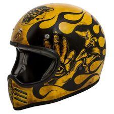Premier Retro MX Bd 12 Amarillo Old Skool Motocross Café Racer Naked Moto Casco
