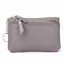 Aladin Leather Coin Purse with Key Chain - Triple Zipper Card Holder Wallet Gray